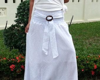 Maxi Skirt With Coconut Buckle * Elastic Waist * Long Skirts For Women * Hippie Skirt * Bohemian Skirt * Boho Skirt * Cotton Skirt *SC-white