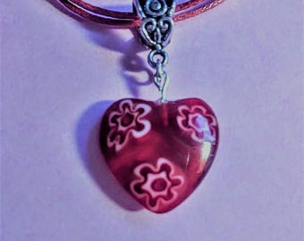 Valentine's Day Red Lampwork Heart Bead Pendant Necklace