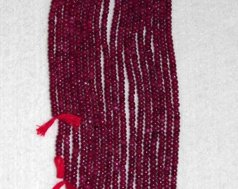 Ruby, Ruby Rondelle, 4 mm, Smooth Rondelle, Gemstone Rondelle, Color Enhanced, Semi Precious, Natural Stone, Natural Ruby, Half Strand