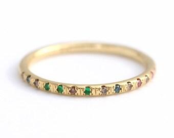 Tiny Diamonds And Emeralds Ring, Thin Eternity Band, Diamond Emerald Half Eternity Ring, Emerald Eternity Band, Half Eternity Wedding Ring