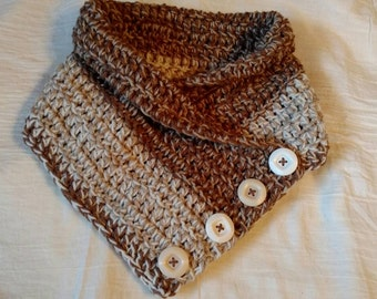 Hand Crocheted Tan and Ivory Buttoned Neck Warmer Cowl