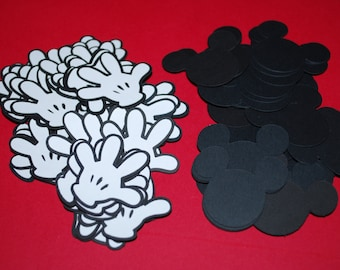 "Mickey Mouse Die  Cuts 1.5"" Mickey Heads & Gloves  (100)"