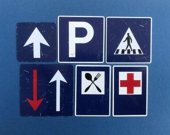 Vintage Dutch miniature road signs, select from: Parking, Arrow ahead, Arrow priority left, Restaurant, Hospital, Zebra Crossing.