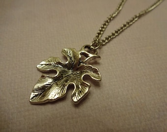 Silver leaf charm with chain