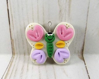 Polymer Clay Butterfly Pendant - Butterfly Necklace Supply - Girl's Butterfly Necklace Supplies -41415