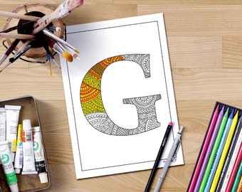 Letter S Coloring Pages Alphabet : Zentangle alphabet coloring pages for adults letter h henna