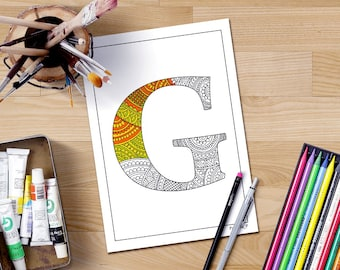 Alphabet Coloring Pages Download : Zentangle alphabet coloring pages for adults henna doodle