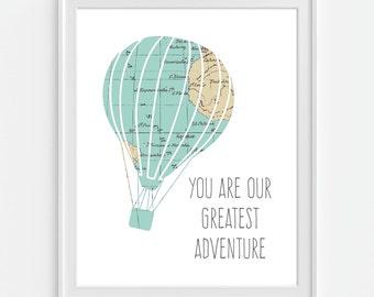 Dream Big Print Hot Air Balloon Print Nursery Art Printable