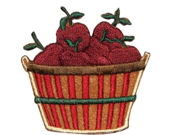 ID 1294 Basket of Apples Patch Orchard Farm Picking Embroidered Iron On Applique