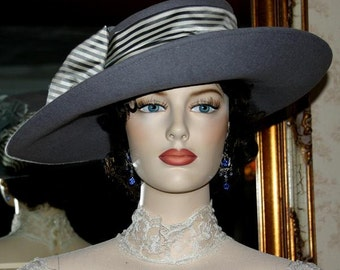 Gray Kentucky Derby Hat with Stripe Silk Band, Ascot Hat, Edwardian Downton Abbey Tea Hat, Women's - Lady Olivia