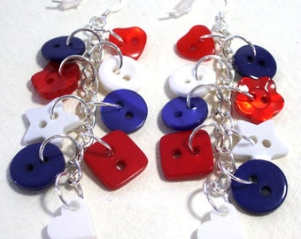 Red, white and blue button sterling silver wires drop/dangle earrings Button Jewellery Button Jewelry UK Handmade Free UK Shipping