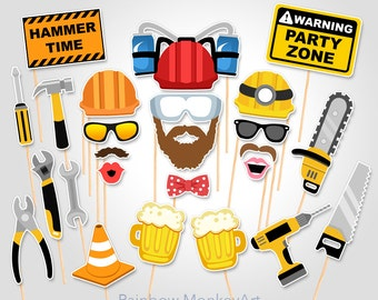 Printable Construction Photo Booth Props - Construction PhotoBooth Props - Road Works Photobooth Props - Construction Photo Booth Props