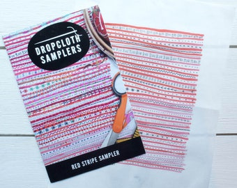 Hand Embroidery Pattern   Dropcloth Samplers Pre-Printed Cotton Embroidery Sampler -RED STRIPE Sampler and Embroidery Kit