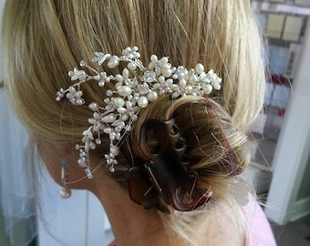 Lux Pearl Hair Comb, Wedding Hair Comb Accessory with REAL Pearls and Bendable Vines, Ready to ship