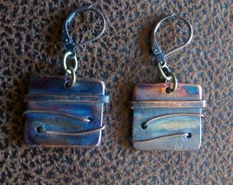 Hammered copper earrings