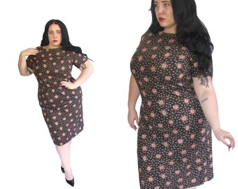 Plus Size Dress l Handmade 1960's Cotton Wiggle Dress l Size XL l Vintage Dress