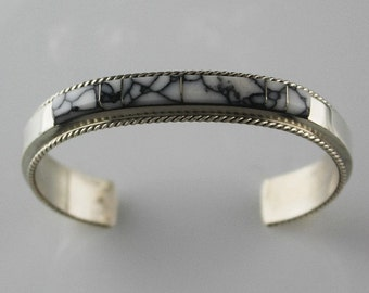 White Buffalo Channel Inlay Bracelet by Fran Yazzie