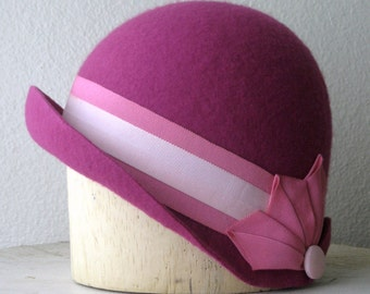 """Fuchsia Pink Wool Felt Cloche With Pleated Ribbon Cockades - Art Deco Style Hat - Size 22.5"""" - Ready To Ship"""
