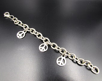 Vintage Sterling Silver Peace Sign Charm Bracelet - Sterling Peace Sign Link Bracelet - Heavy Peace Symbol Sterling Charm Bracelet - 925
