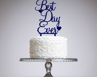 Best Day Ever Wedding Cake Topper featuring two hearts. Special occasion party cake decoration