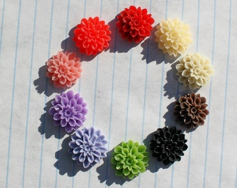 24 MEDIUM DAHLIA Cabochons - 15mm- CHOOSE your Colors