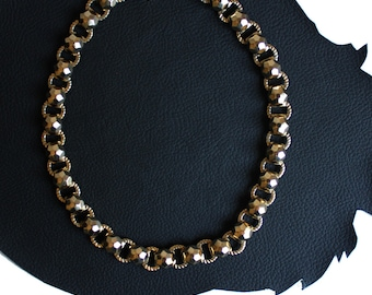 Disco Ball Vintage Gold Link Necklace
