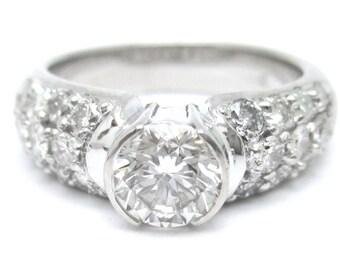 2ctw round cut semi bezel pave diamond engagement ring 14k white gold