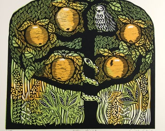 linocut print, tree of life, apple tree, fruit tree, golden yellow, green, owl, apples, nature, printmaking, forest, woodland, inspiration