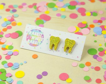 Wisdom Tooth Stud Earrings in Gold Glitter