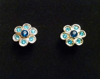 Aqua and turquoise crystal flower earrings