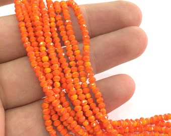 3 mm Orange Rondelle Faceted Glass Beads ,1 Strand   approx 38 cm ( approx 14,5 inch-  approx 150 Pcs)   G4032