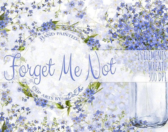 Watercolor Forget Me Not Clipart Blue Flowers Clip Art Rustic