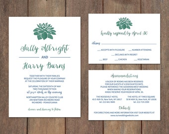 Succulent Wedding Invitation Suite, Watercolor Succulent Wedding Invitation Set, Rustic Wedding, Green Watercolor Succulent Invite  - Sonja