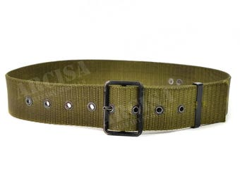 Original Slovakian army webbing belt. Olive military Y-straps suspenders belt military issue waist belt