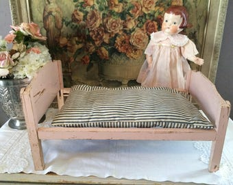 SALE****Darling Vintage Wooden Doll Bed Chippy Pink Paint with Antique Ticking Stripe Mattress Pad 1930s