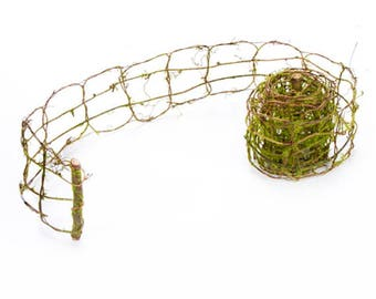 """Grapevine and Moss Garland, 3"""" wide x 108"""" long - Use for Fairy Garden Fence"""
