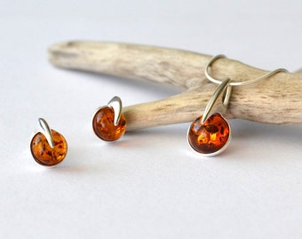 Amber Jewelry Set, Amber Pendant, Amber Necklace, Amber Earrings, Amber Gift, Women, Gift Jewelry