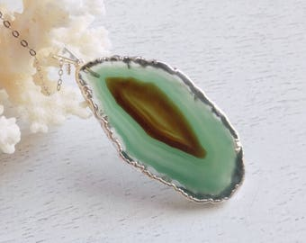 One Of A Kind Gifts, Womens Gifts, Agate Necklace Silver, Green Agate Slice Necklace, Raw Stone Necklace, Statement Necklace, Bohemian 6-294