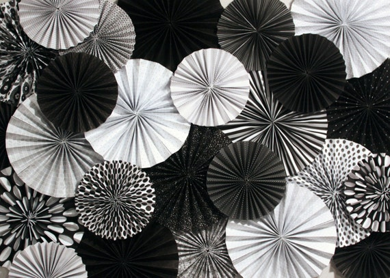 Black and white paper fan backdrop set of 15 fans