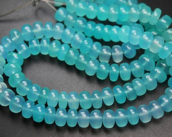 7 Inches strand,AQUA Chalcedony Smooth Rondelles Large Size,9-10mm