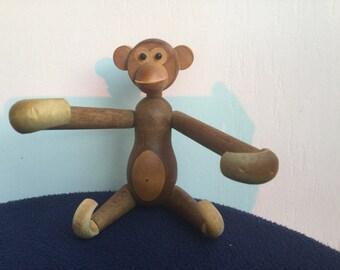 Mid Century Modern Teak Wood Monkey Articulated LImbs