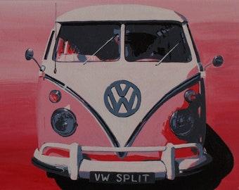 VW Split - VW Splitscreen Campervan acrylic painting on canvas board