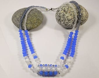 Multistrand Necklace Peyote Necklace Layered Statement Necklaces For Women Blue White Beaded Necklace Gift for her Handmade Fashion Jewelry