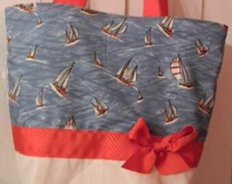 Red White & Blue Ship Nautical Sailing  Purse Tote BAG or Diaperbag