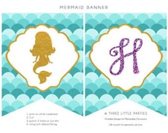 Personalized Mermaid Banner - Printable Mermaid Banner