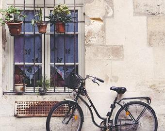 """Bicycle Art, Paris Photography, Bike Print, Dorm Decor, Paris Art Print, Cobblestones, Paris Decor, White Wall Art """"Le Velo"""""""