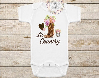 Lil Country Cutie Onesie//Country Baby Girl//Baby Shower Gift//Cowgirl Boots//watercolor onesie//Summer Onesie
