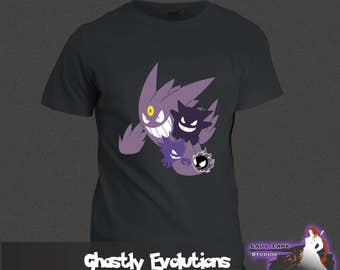 Pokemon - Ghastly Evolutions  (Unisex/Ringspun/Ladies) Tshirt