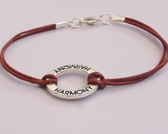 One Of A Kind - Harmony CIrcle Charm Leather Bracelet - BOHO Leather Bracelet -  Brown -  Leather w/ silver charm - Made In Usa