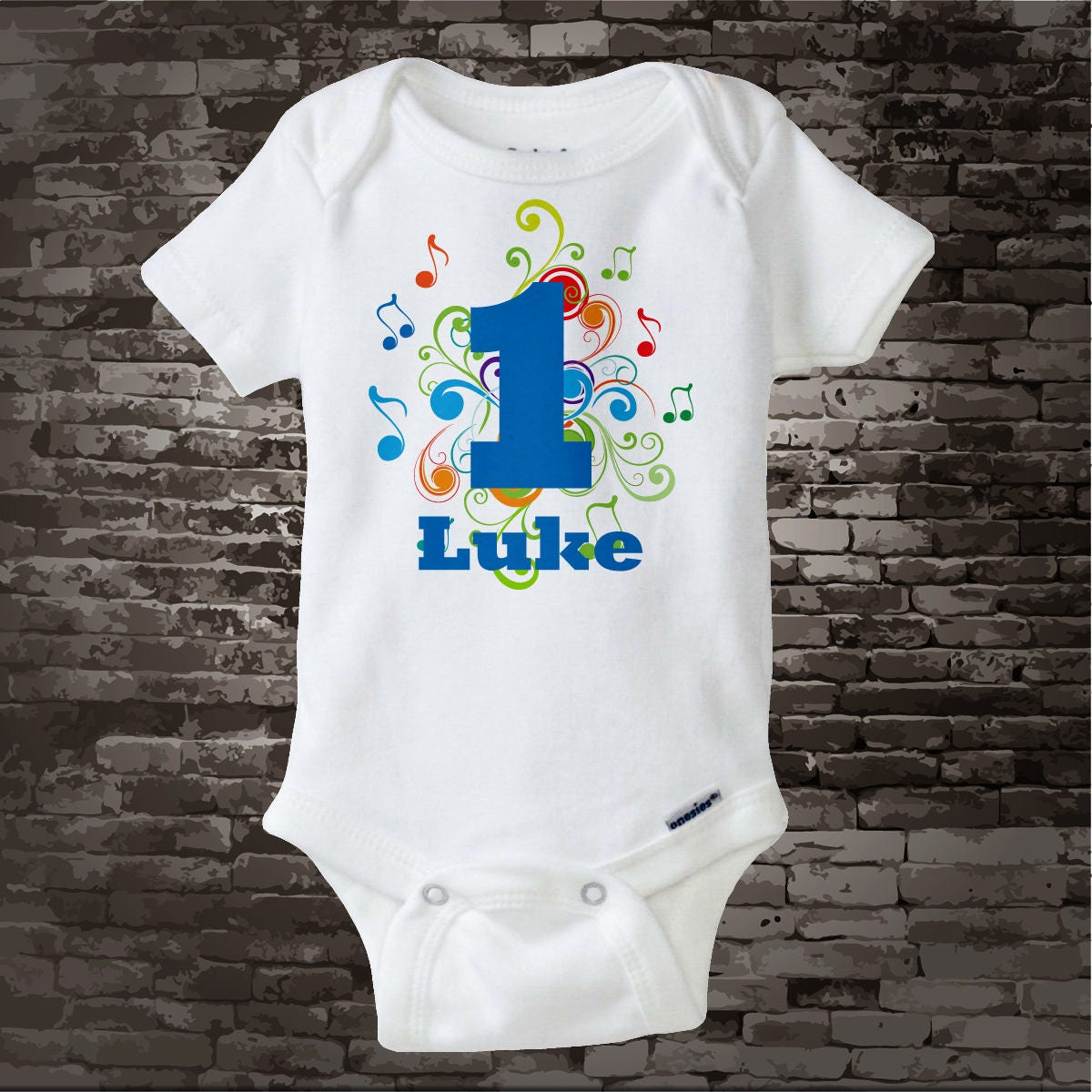 Music Themed First Birthday Onesie Personalized Boy'd 1st